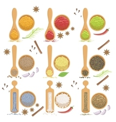 Powdered spices bowl and corresponding spoon set vector