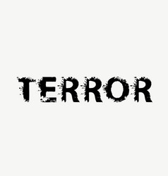 scary lettering terror on a light background vector image