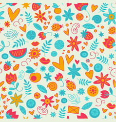 seamless doodle love pattern vector image
