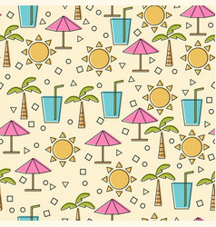seamless pattern with summer elements in thin line vector image