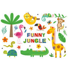 set isolated funny jungle animals part 1 vector image