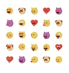 Set love emoticon vector