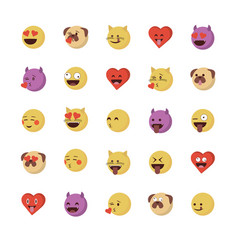 set of love emoticon vector image