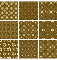 set of various seamless golden pattern vector image