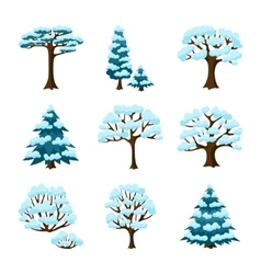 Set of winter abstract stylized trees Natural vector