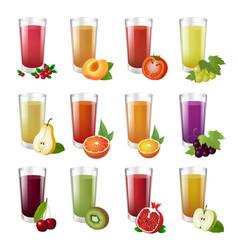 set realistic transparent glasses of juice vector image