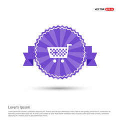Shopping cart icon - purple ribbon banner vector