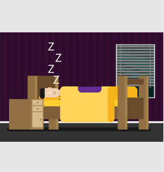 sleeping man flat vector image