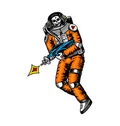 Soaring spaceman skeleton with space weapons vector