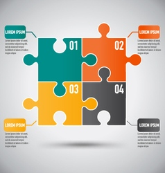 Square puzzle piece infographics template vector