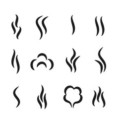 Steam aroma icons coffee and tea smell black vector