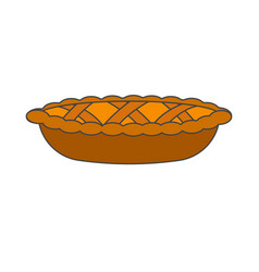 Tasty pie decoration dough weaving realistic icon vector