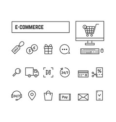 Thin line black set icons online shopping vector