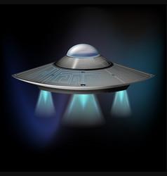 Ufo flying in dark space vector