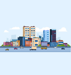 urban landscape modern cartoon cityscape vector image