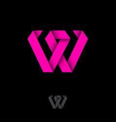 w monogram origami logo letter like pink ribbon vector image