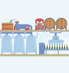 wine or grape alcoholic beverages production vector image