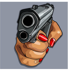 Womens cartoon hand with red manicure holding gun vector