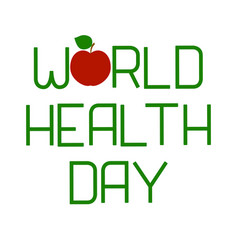 world health day lettering and apple vector image