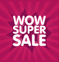 Wow super sale banner in retro background vector