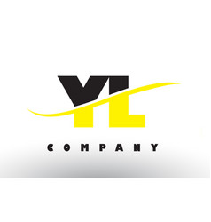 yl y l black and yellow letter logo with swoosh vector image