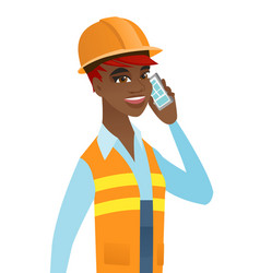 Young african builder talking on a mobile phone vector