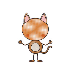 color crayon silhouette caricature faceless of cat vector image