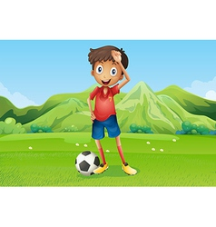 A football player at the field vector image vector image