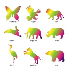 Colorful abstract animal icons vector image
