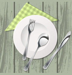 cutlery on table with tissue vector image vector image