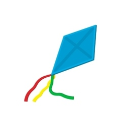 Flying blue kite cartoon icon vector image vector image