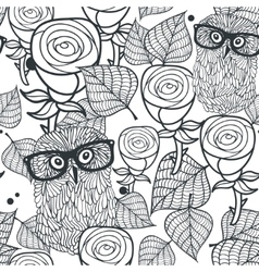 Seamless black and white pattern with flowers and vector image vector image