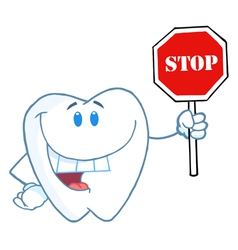 Tooth Holding A Stop Sign vector image vector image
