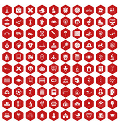 100 kids icons hexagon red vector image vector image