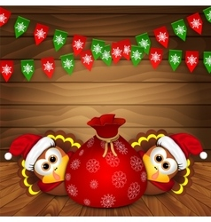 Christmas card with funny turkeys vector