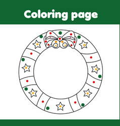 coloring page with christmas wreath educational vector image vector image