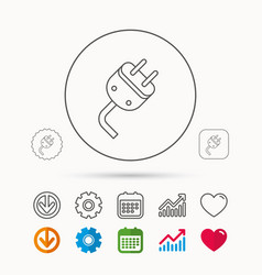 Electric plug icon electricity power sign vector