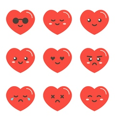 Set collection of flat design emoji red hearts vector image vector image