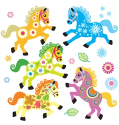 set with decorative horses vector image vector image