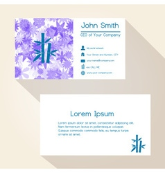 blue floral and bamboo business card design eps10 vector image