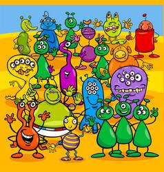 cartoon aliens fantasy characters group vector image vector image