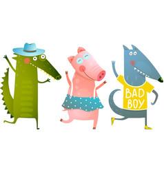 Cute Baby Animals Crocodile Pig Wolf Dancing vector image vector image