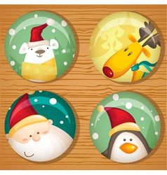 Cute Christmas badges vector image vector image