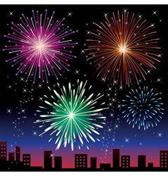 Fireworks on the night city vector image