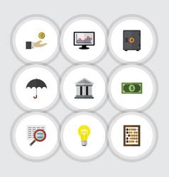Flat icon gain set of bank greenback chart and vector
