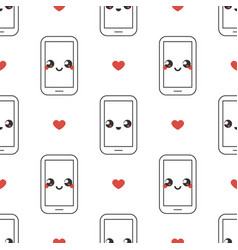 mobile phone emoticons with red hearts pattern vector image