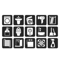 Silhouette Bathroom and toilet objects and icons vector image vector image