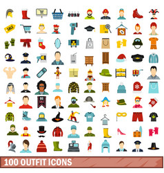100 outfit icons set flat style vector image