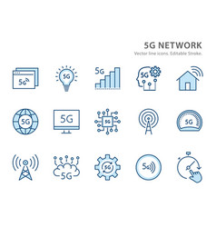 5g network flat line icon set vector