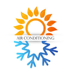air conditioning symbol with red and blue waves vector image